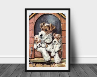 Child's Room Art, Kitchen Art, Family Room Art, Dog Art Print, Mom and the Kids, A Lazy Afternoon #533