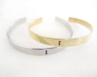 Adjustable Semicolon Cuff, Bracelet, Project Semicolon