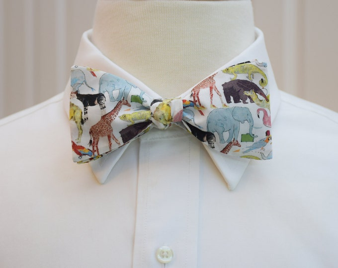 Men's Bow Tie, zoo print, animals bow tie, zoo wedding bow tie, animal lover gift, veterinarian gift, Liberty of London wildlife bow tie