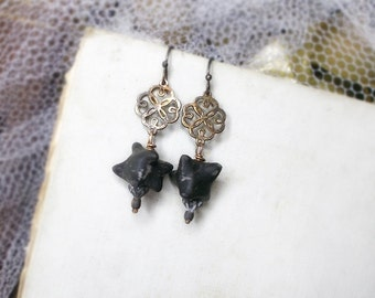 Beaded Earrings | Rustic Polymer Clay Bead Earrings | Tarnished Quatrefoil Connectors | Gothic Black Spiky Beads | Metal n Clay Assemblage
