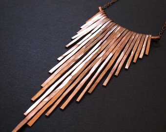 Copper Necklace - Fringe Necklace - Cascading Bars - Solid copper bars - Copper Jewelry- handmade in Austin, Tx
