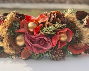 Rustic floral halo! Orange and Pink crown, custom halo for a special occasion,