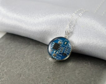 Circuit Board Necklace, Sterling Silver Necklace, Royal Blue Geeky Jewelry, Wearable Technology, Computer Engineer, Science Necklace, Nerdy