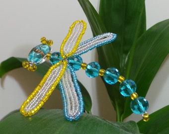 French Beaded Aqua & Yellow Dragonfly Plant Stick
