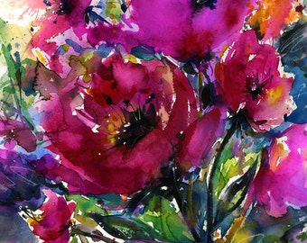 """Pink Flower Painting, Poppy Poppies Art, Large Canvas Giclee Art Print . Original Floral flower """"Jubilation"""" by Kathy Morton Stanion  EBSQ"""