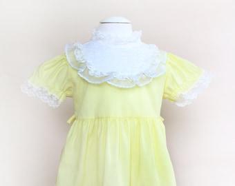 Vintage Toddler Dress / Vintage Yellow Ruffle Dress / Size 12-18 Months