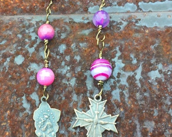 Anglican Chaplet  Protestant Prayer Beads  \\ Saint Teresa Little Flower Pink Agate Chaplet \\ Holy Spirit Cross orig 34 dollars now 17 sale