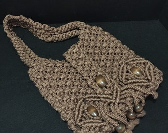 Cocoa Macrame Knotted Purse with Wood Beads - #105