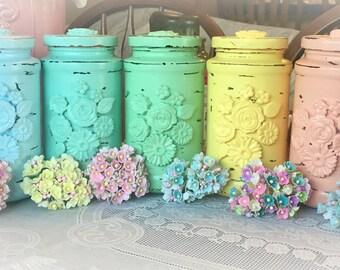 Pastel Rainbow Shabby Chic Glass Flower Vase Jar Wedding Bridal Baby Birthday Anniversary Table Party Centerpiece Home Decor Decoration Gift
