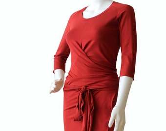 Wrap Dress, Plus size dress, Terracotta orange dress, Womens clothing, Knee length womens dresses, XL dress, XXL dress, Dress
