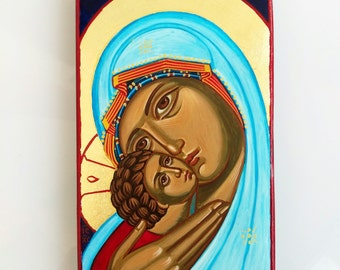 Madonna with Christ child - orthodox style handpainted icon of Virgin Mary and Baby Jesus - 6 1/2 by 4 inches