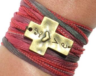 Love Cross Silk Wrap Bracelet Faith Yoga Jewelry Necklace Forever Faith Spiritual Unique Gift For Her Christmas Stocking Stuffer Item M70