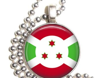 Burundi Flag, Africa Art Pendant, Earrings and/or Keychain, Round Photo Silver and Resin Charm Jewelry, Flag Earrings, Flag Key Fob
