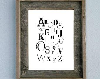 ABCs, Alphabet, Printable, Home decor, Wall art