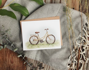 Yellow Bike Card - Watercolor Bike, Cruiser Bike, Bike Card, Summer, Card, Greeting Card, Note Card