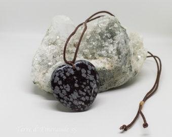 Obsidian flecked heart pendant necklace