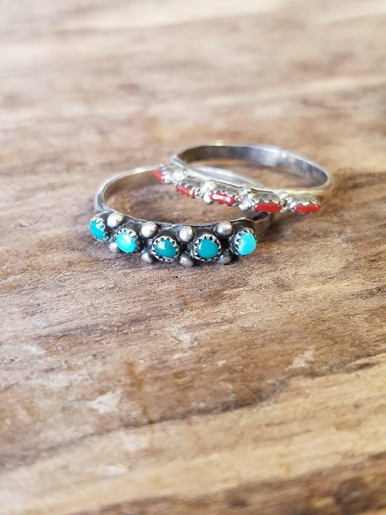 feather ring sterling multi shop stone size rings turquoise adjustable bd silver