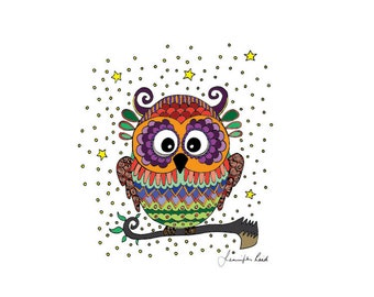 Kooky Owl Art Print - Jennifer Reid