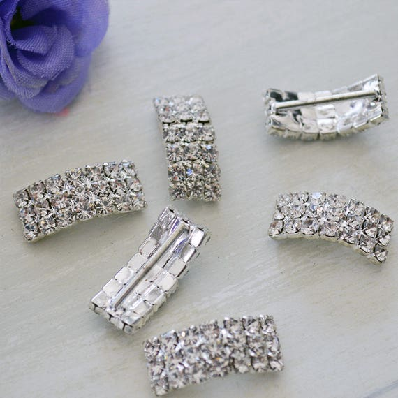 Silver Curved Rhinestone Buckles for Invitations or Decoration with 15mm bar