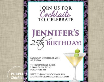 25th Birthday Invitation Purple Turquoise Cocktail Party Invite Drink Dinner Party Elegant Damask Invite Adult Party Invite JPEG file (233)
