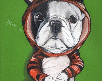 Original französische Bulldogge-Gemälde / A4 Größe / Kostenloser Versand