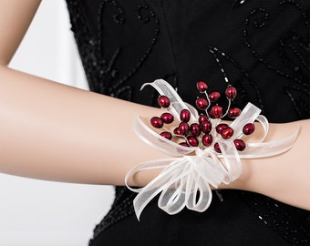 Limited Edition Wrist Corsage - Freshwater Pearl Burgundy Corsage - Maroon, Red Corsage
