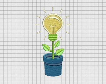Light Bulb Flower Pot Embroidery Design in 4x4 5x5 6x6 and 7x7 Sizes