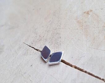 Silver Diamond Shape Earrings, Diamond Earrings, Sterling Silver Earrings, Geometric Earings
