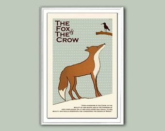 Poster print Aesop The Fox and the Crow in various sizes