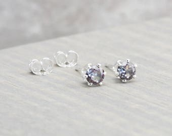 Sterling Silver Alexandrite Stud Earrings - June Birthstone Earrings - 4mm Studs - June Birthday - Alexandrite Earrings - Christmas Gift