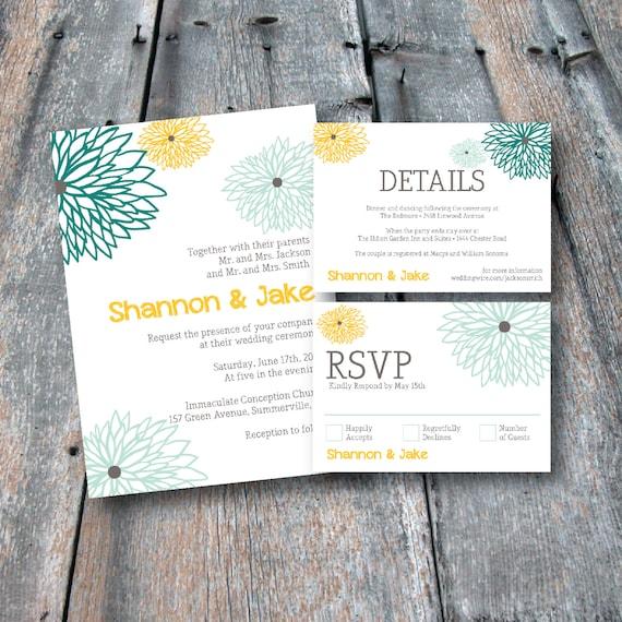 Floral wedding invitation suite rsvp card details card like this item stopboris Choice Image