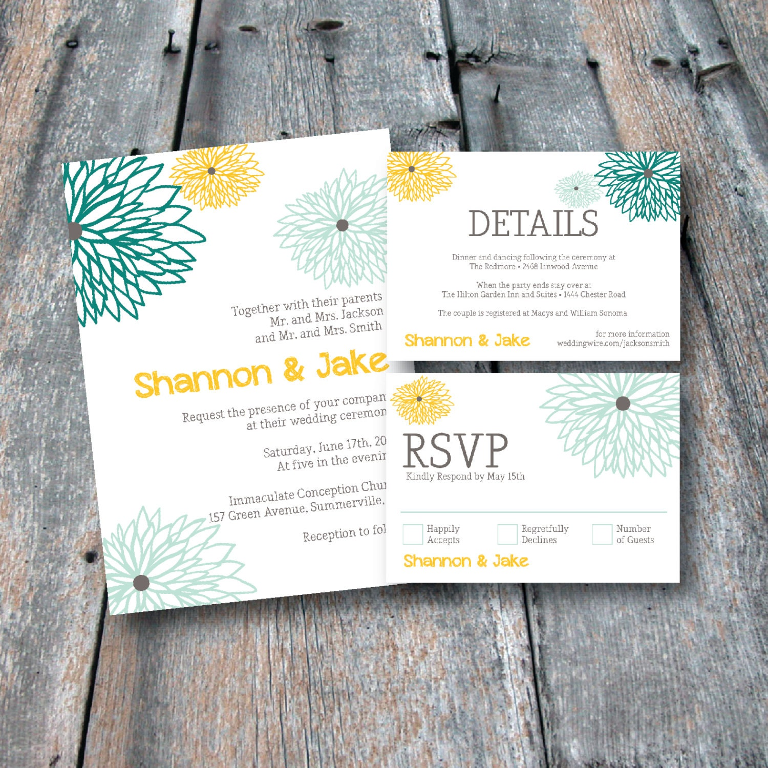 Floral Wedding Invitation Suite. RSVP Card. Details Card