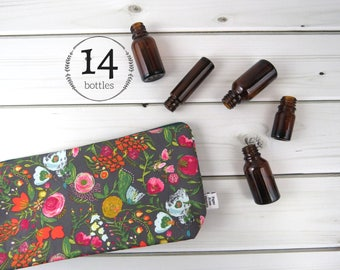 Classic Essential Oil Bag, Essential Oil Case  - Budquette Nightfall - 14 bottles - cosmetic bag zipper pouch essential oil bag project