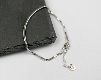 Silver Bar Bracelet, Sterling Silver, Rectangle Bar Bracelet, Charm Bracelet, Handmade Bracelet, Gift for Friend, XIEandCOJewellery