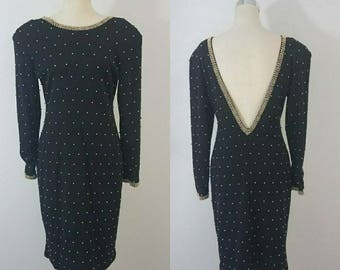 Vintage beaded Wool Dress