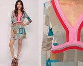 90s Mini Dress Geometric Dress Color Block EMPIRE Waist Knit Deep V Neck 1990s Vintage Boho Long Sleeve Small Medium
