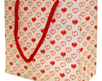 CLEARANCE 10 count Small Gift Bags - Party Gift Bags - Goodie Bags - Childrens Take Home Bags - Birthday Party - Red and White PartY