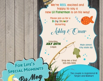 Custom Fishing Baby Shower Invitation - Printable file - It's a Boy Baby Shower Invite