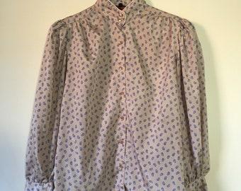 Vintage 70's Mandarine Collar Button Up Blouse with Paisleys