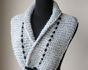 Silver Heather Light Gray Color Knitted Scarf Collar Necklet Scarflette with Black Cord
