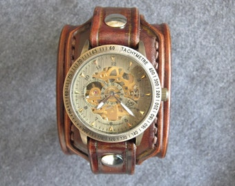 Men's Leather Watch Cuff Handmade Brown