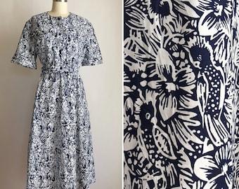 80s novelty dress M-XL ~ vintage birds in paradise print dress