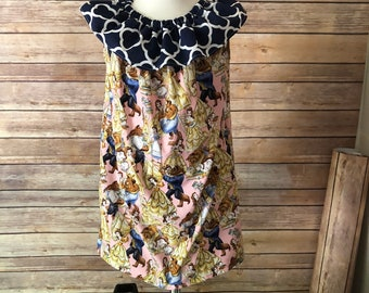 Pillowcase dress with ruffle sleeve Belle inspired
