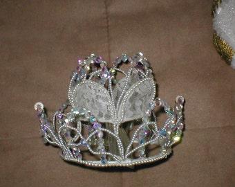 Vintage 1950s Crystal Crown Bridal Headpiece