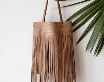 Beige Distressed Leather Bag With Fringe, Shopper bag, boho bag, school bag, summer bag, macbook case