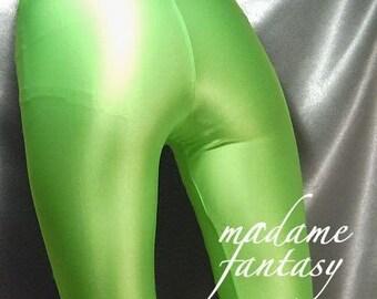 Neon green shiny spandex leggings