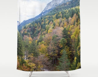 Forest Shower Curtain Trees Shower Curtain Photo Curtain Nature Curtain Autumn Curtain Trees Curtain Hohenschwangau Castle Green Curtain