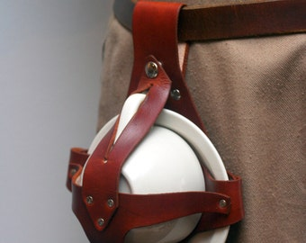Light Brown Leather Teacup and Saucer Holster