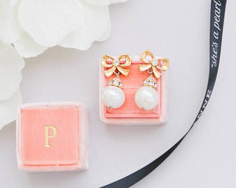 Freshwater Pearl Bow Stud Earrings - Swarovski Crystals, Pearls, Gold - Style  1105 Bekah Anne - Ready to Ship