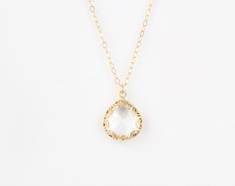 Gold Framed Glass Pendant Necklace - Crystal Clear - Grace